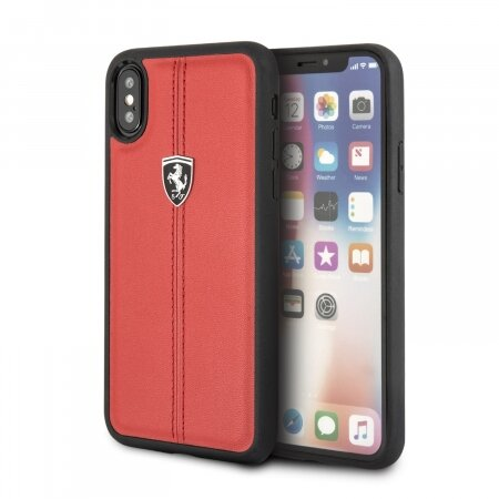 Кожаный чехол Ferrari для iPhone X/XS Heritage W Hard Leather, Red (FEHDEHCPXRE)
