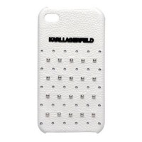 Кожаный чехол накладка для iPhone 4/4S Karl Lagerfeld TRENDY Hard White (KLHCP4TRSW)