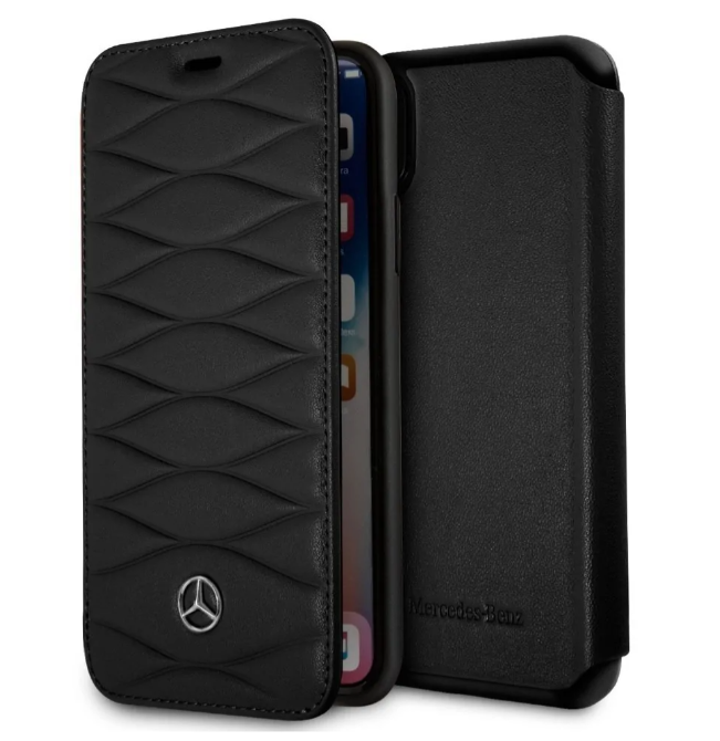 Кожаный чехол-книжка для iPhone X/XS Mercedes Pattern lll Booktype Leather, Black (MEFLBKPXWHCLBK)