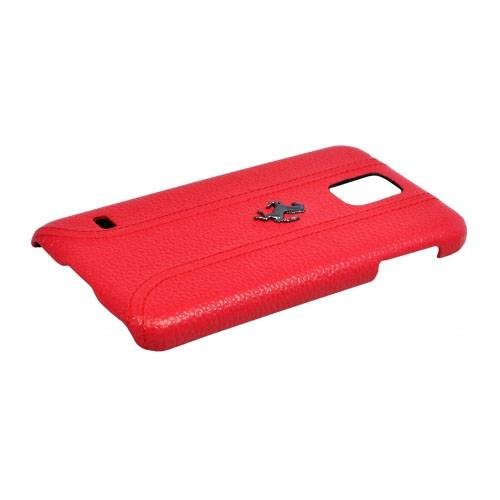 Кожаный чехол накладка для Samsung Galaxy S5 Ferrari FF-Collection Hard Red (FEFFHCS5RE)