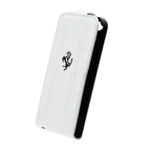 Кожаный чехол с флипом для iPhone 5C Ferrari FF-Collection Flip White (FEFFFLPMWH)