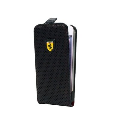 Чехол блокнот с флипом Ferrari Scuderia Full Perforated для iPhone 5 / 5S FECHFPFLP5 (черный)