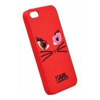 Чехол накладка Karl Lagerfeld для iPhone 5/5S/SE Choupette in love 2, Red (KLHCPSECL2RE)
