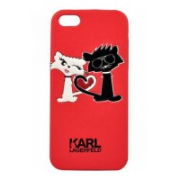 Чехол накладка Karl Lagerfeld для iPhone 5/5S/SE Choupette in love, Red (KLHCPSECL1RE)