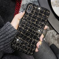 Сверкающий чехол для iPhone X / XS Glaring Sequins Style со стразами (Black+Gold)
